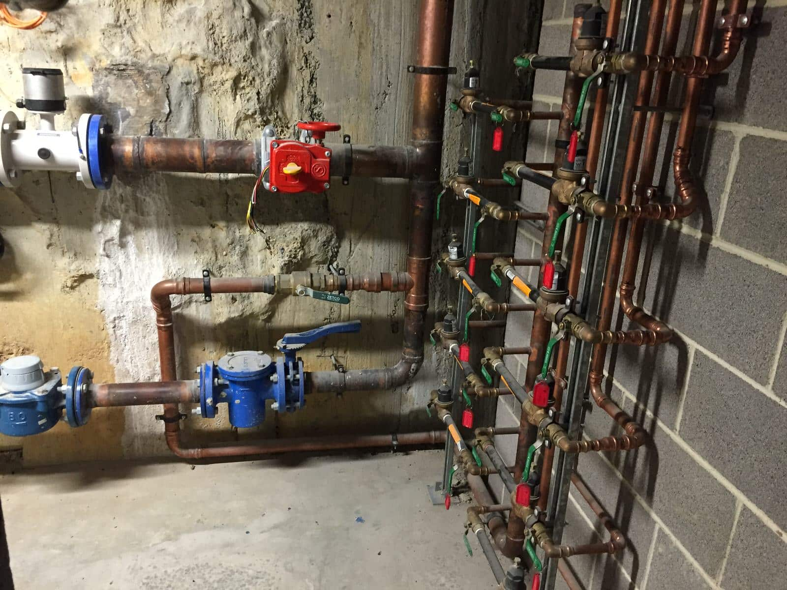 Backflow devices in a building